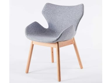 Fabric chair with armrests and beech legs WINGS | Chair with armrests