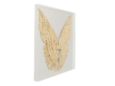 MDF wall decor item WINGS GOLD WHITE | Wall decor item