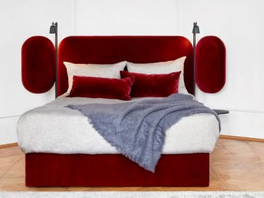 Velvet bed with adjustable headrest WINGS