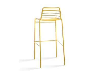 Metal stool with back with footrest WIRE | Stool