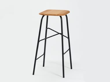 Contemporary style steel barstool with footrest WIREFRAME | Stool
