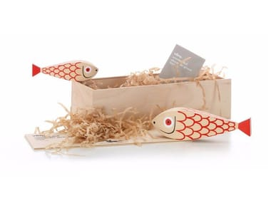 Scultura in legno WOODEN DOOL MOTHER FISH & CHILD