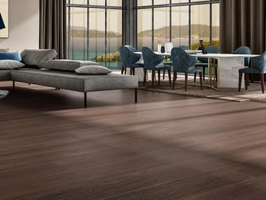 Pavimento/rivestimento in gres laminato effetto legno WOODLAND - EBONY