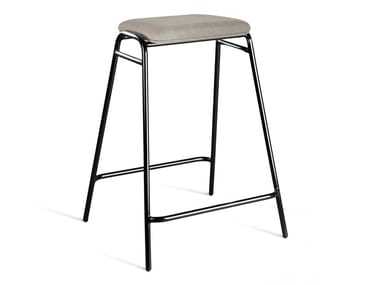 High upholstered fabric stool with footrest WORKING GIRL | Upholstered stool