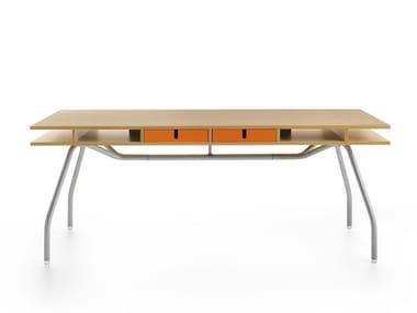 Lacquered wood veneer office desk with drawers WORKTOP