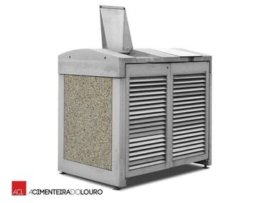 Outdoor Concrete Litter Bin With Lid