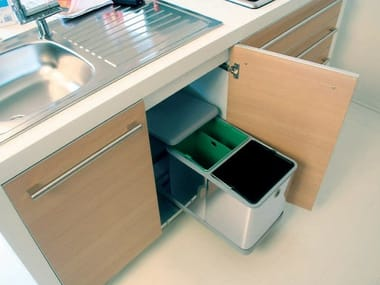 Stainless steel kitchen bin for waste sorting Waste separating container