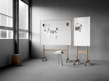 Magnetic office whiteboard with casters Wood mobil whiteboard