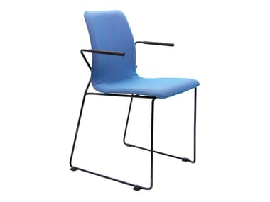Sled base stackable fabric chair with armrests X-ACT | Chair with armrests