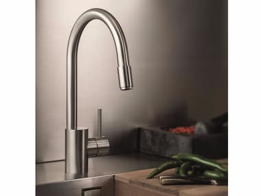 Stainless steel kitchen mixer tap with pull out spray X-MIX | Stainless steel kitchen mixer tap