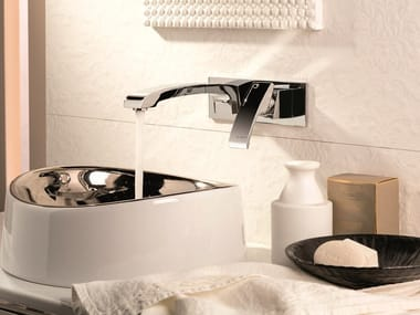 Wall-mounted single handle washbasin tap with plate X-SENSE | Washbasin tap with plate