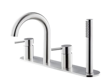 Contemporary style deck mounted 4 hole Recessed stainless steel bathtub tap with hand shower X-STEEL 316 | Bathtub set