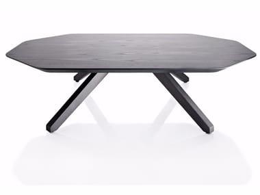 Tavolino basso in legno impiallacciato X TABLE | Tavolino in legno