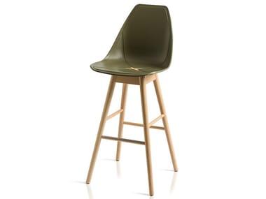 High polypropylene stool with back X WOOD 2 | Stool