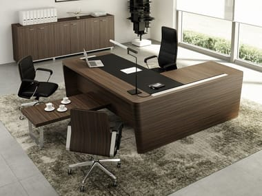 L Shaped Wooden Executive Desk With Cable Management X10 Office