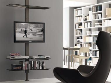 Swivel metal TV cabinet with shelves XL83