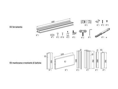 Kit ferramenta XTERNA | Ferramenta per porte scorrevoli esterno muro