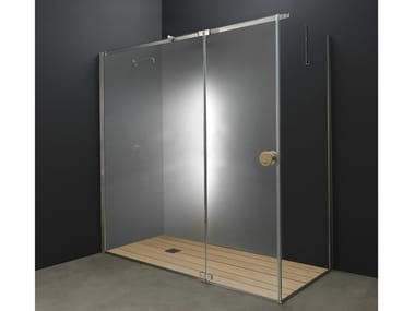 Corner Glass and Stainless Steel shower cabin with hinged door Y1 | Shower cabin