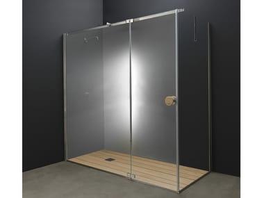 Box doccia angolare in acciaio inox e vetro con porta a battente Y1 | Box doccia