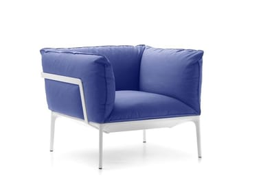 Upholstered fabric armchair with armrests YALE | Armchair