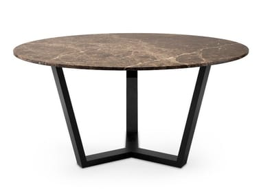 Round Dark Emperador marble dining table YARKON