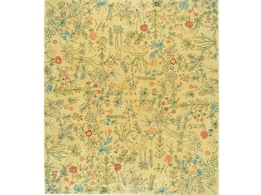 Square wool rug with floral pattern YASCHILAN