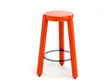 High solid wood stool with footrest YAY | High stool