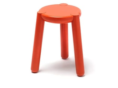 Lacquered solid wood stool YAY | Low stool