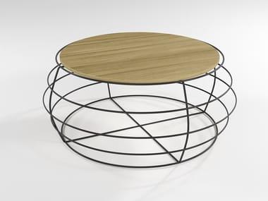 Mesa de centro de café de folheado de madeira YO-YO   Mesa de centro