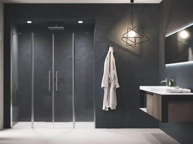 Box doccia angolare in alluminio con piatto con porta a battente YOUNG | 2A
