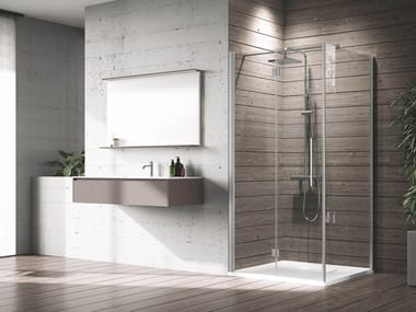 Box doccia angolare in alluminio con piatto con porta a battente YOUNG | 2GS+F