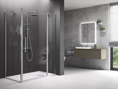 Box doccia angolare in alluminio con piatto con porta a battente YOUNG | 2P+F + YOUNG 2.0 F1B