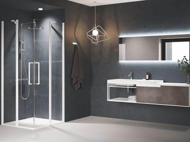 Box doccia angolare in alluminio con piatto con porta a battente YOUNG | A