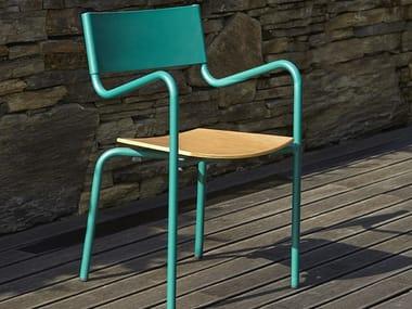 Sedia da giardino impilabile in metallo con braccioli Z | Sedia