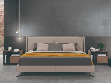Leather bed with upholstered headboard ZC-03A | Bed