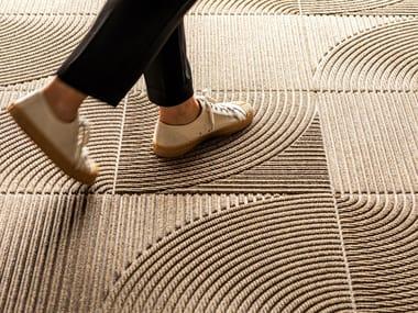 Solid-color fabric carpet tiles ZEN