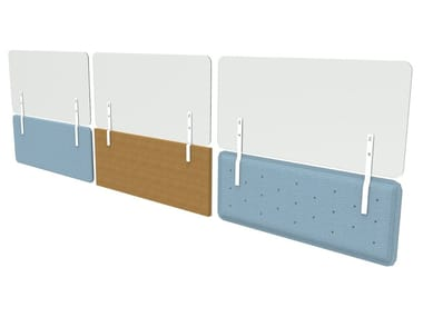 PMMA desktop barrier for second level on acoustic panel ZEN PROTECT | PMMA protective barrier