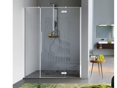 Cabina de ducha en nicho de vidrio templado con puerta batiente ZENITH | Cabina de ducha en nicho