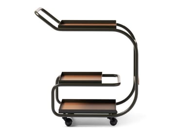 Steel and regenerated leather food trolley ZENZERO