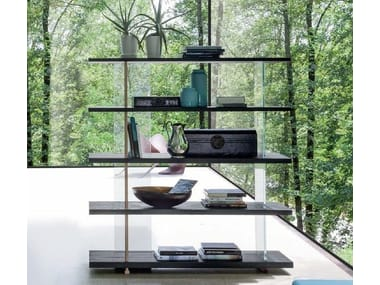 Double-sided wooden bookcase ZERO.16 | Glass bookcase