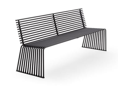 Panchina in metallo con schienale ZEROQUINDICI.015 | Panchina con schienale