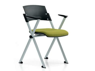 Stackable fabric training chair with armrests ZETA | Training chair with armrests