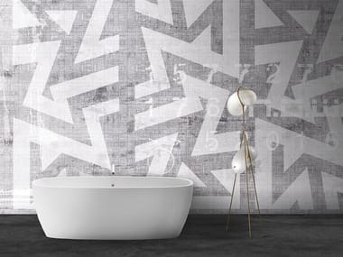 Papel de parede geométrico lavável de material sintético estilo moderno com efeito de parede ZIG