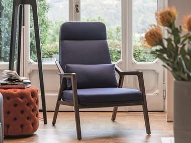 High-back fabric armchair LORETTA | Fabric armchair