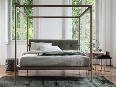 Double bed with upholstered headboard ZIGGY | Canopy bed
