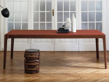 Rectangular table in walnut and glass top ZIGGY | Rectangular table
