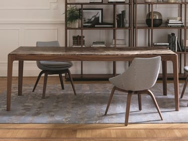 Rectangular table in walnut and marble top ZIGGY   Marble table