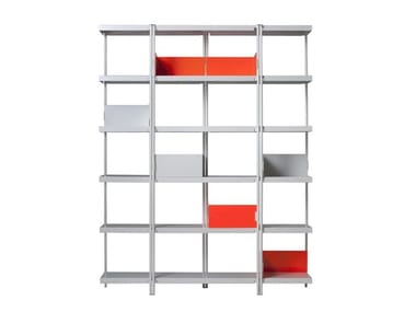 Open steel and wood bookcase ZIGZAG