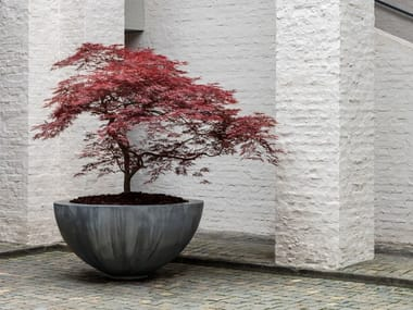 Vaso da giardino basso in zinco ZINC HALF BOWL