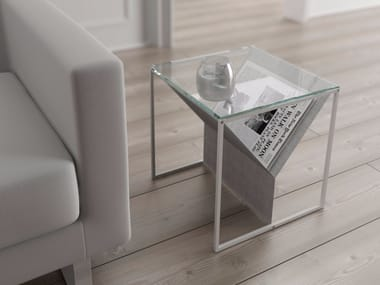 Glass and steel coffee table with integrated magazine rack ZINCR